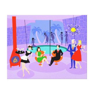 Retro Tropical Cocktail Party Canvas Print