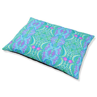 Retro tropical floral Pattern Large Dog Bed