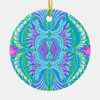Retro tropical floral Pattern Round Ceramic Ornament