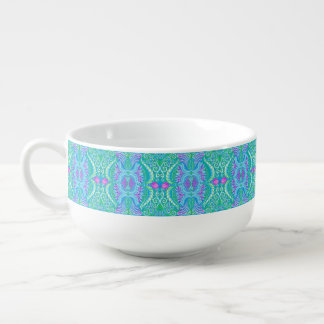 Retro tropical floral Pattern Soup Mug