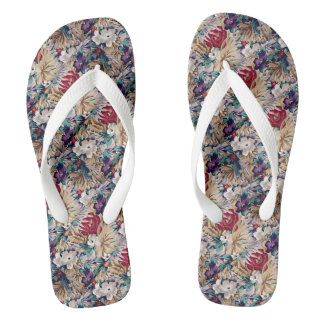 Retro Tropical Flower Pattern Flip Flops