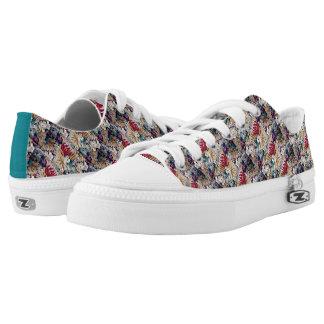 Retro Tropical Flower Pattern Low-Top Sneakers