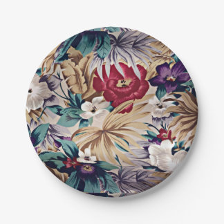 Retro Tropical Flower Pattern Paper Plate