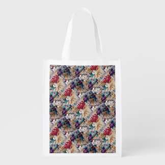 Retro Tropical Flower Pattern Reusable Grocery Bag