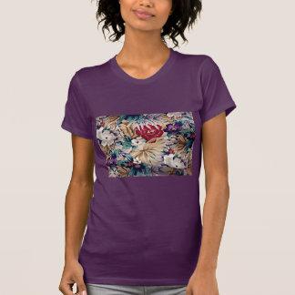 Retro Tropical Flower Pattern T-Shirt