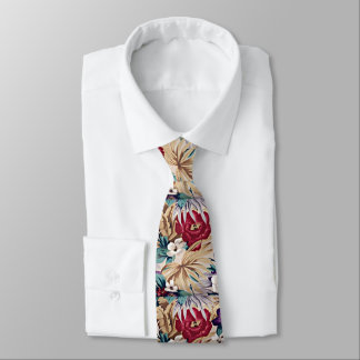 Retro Tropical Flower Pattern Tie