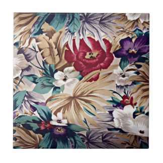 Retro Tropical Flower Pattern Tile