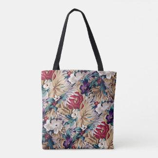 Retro Tropical Flower Pattern Tote Bag