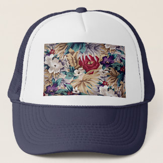 Retro Tropical Flower Pattern Trucker Hat