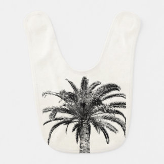 Retro Tropical Island Palm Tree Black and White Bib