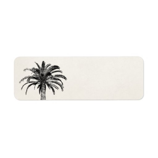 Retro Tropical Island Palm Tree in Black and White Return Address Labels