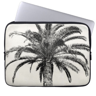Retro Tropical Island Palm Tree in Black and White Laptop Sleeve
