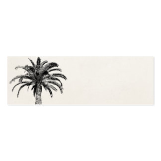 Retro Tropical Island Palm Tree in Black and White Mini Business Card