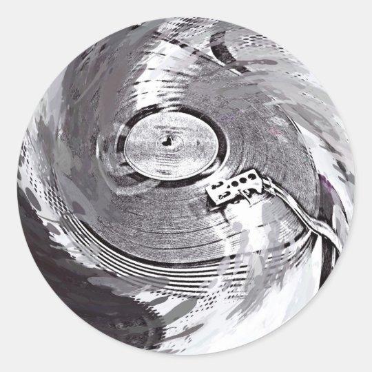 Retro Turnable DJ Round Sticker Glossy