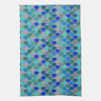 Retro Turquoise Blue Teal Gray Scales Pattern Kitchen Towel