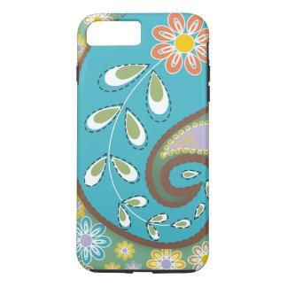 Retro turquoise, brown paisley motif custom iPhone 8 plus/7 plus case
