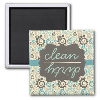 Retro Turquoise Clean Dirty Dishwasher Magnet