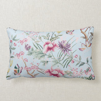 Retro turquoise design with flowers lumbar pillow