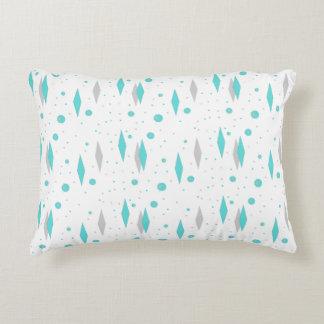 Retro Turquoise Diamond  & Starburst Accent Pillow