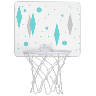 Retro Turquoise Diamond & Starburst Basketball Goa Mini Basketball Hoop