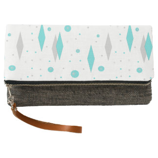 Retro Turquoise Diamond & Starburst Clutch Purse