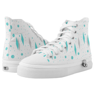 Retro Turquoise Diamond & Starburst High Top Shoes