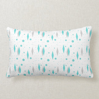 Retro Turquoise Diamond  & Starburst Lumbar Pillow