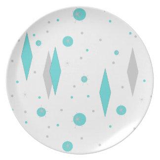 Retro Turquoise Diamond & Starburst Melamine Plate