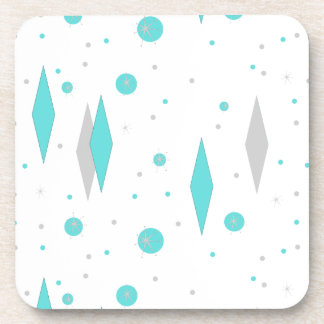 Retro Turquoise Diamond Starburst Plastic Coaster