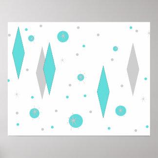 Retro Turquoise Diamond & Starburst Poster