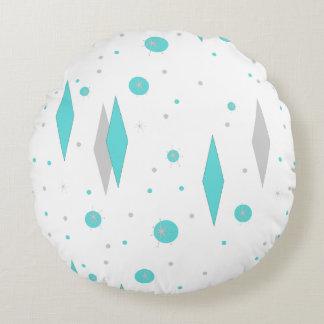 Retro Turquoise Diamond  & Starburst Round Pillow