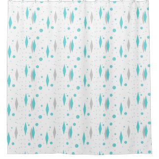 Retro Turquoise Diamond & Starburst Shower Curtain