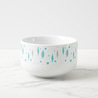 Retro Turquoise Diamond  & Starburst Soup Mug