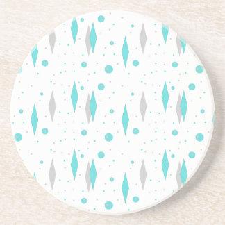 Retro Turquoise Diamond & Starburst Stone Coaster