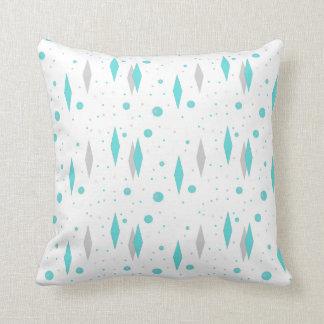 Retro Turquoise Diamond  & Starburst Throw Pillow