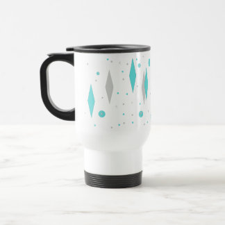 Retro Turquoise Diamond & Starburst Travel Mug