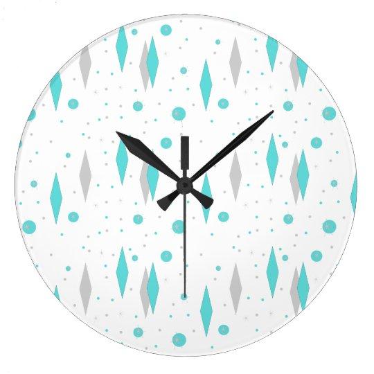Retro Turquoise Diamond & Starburst Wall Clock