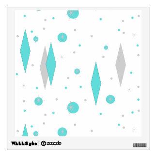 Retro Turquoise Diamond & Starburst Wall Decal