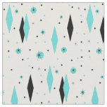 Retro Turquoise Diamonds and Starbursts Fabric
