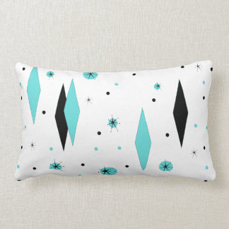 Retro Turquoise Diamonds & Starburst Lumbar Pillow