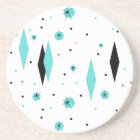 Retro Turquoise Diamonds & Starburst Stone Coaster