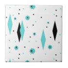 Retro Turquoise Diamonds & Starbursts Ceramic Tile