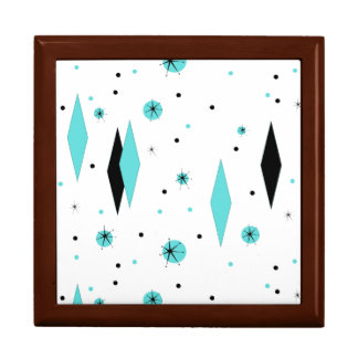 Retro Turquoise Diamonds & Starbursts Keepsake Box