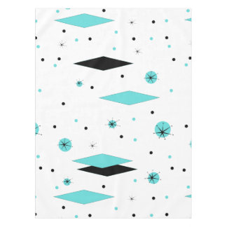 Retro Turquoise Diamonds & Starbursts Tablecloth