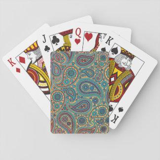 Retro Turquoise Rainbow Paisley motif Playing Cards