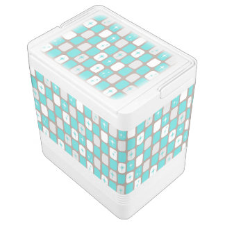 Retro Turquoise Starbursts Igloo Can Cooler