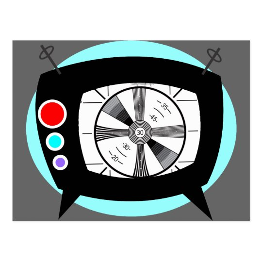 Retro TV and Test Pattern Postcard
