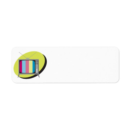 retro tv television return address label