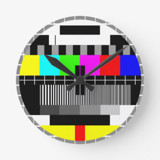 Retro TV Television Test Screen Wall Clock