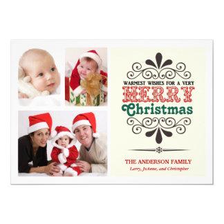 Retro Type Christmas Tri-Photo Flat Card